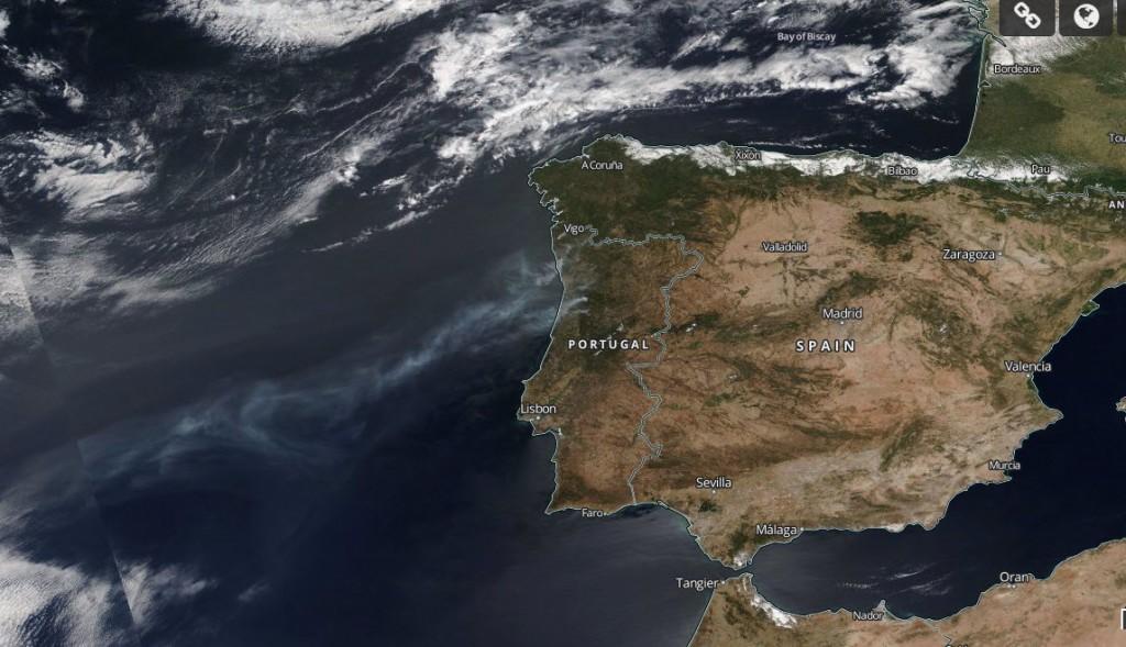 Fogos em Portugal vistos do espaço