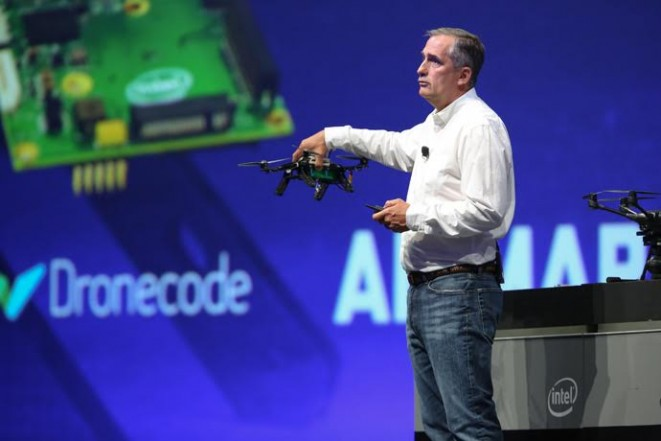 Intel CEO Brian Krzanich displays the Aero Ready To Fly drone -- a fully-assembled quadcopter with compute board, integrated depth and vision capabilities using Intel RealSense Technology. Krzanich displayed the new quadcopter during his keynote at the 2016 Intel Developer Forum in San Francisco on Tuesday, Aug. 16, 2016. (Credit: Intel Corporation)